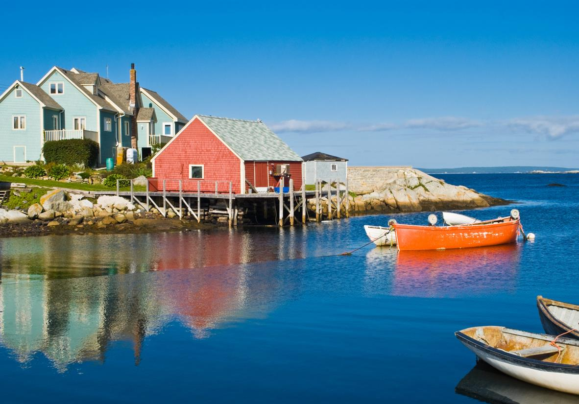 Colourful huts and boats on the water