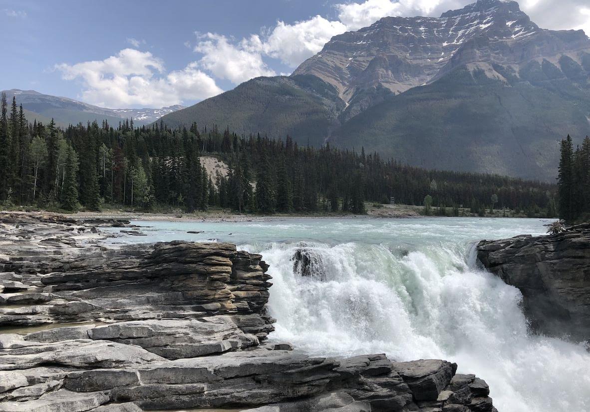 Glacial water of Athabasca Falls