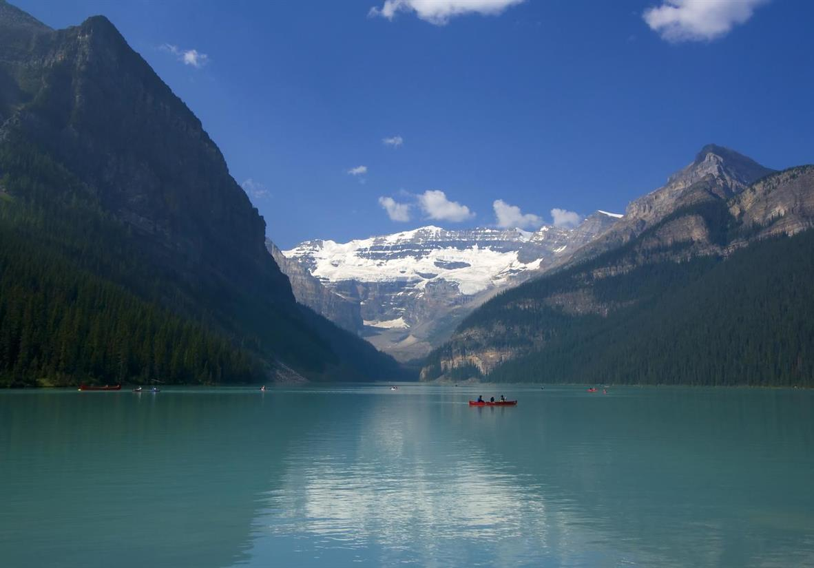 Soak up the sun on glistening Lake Louise