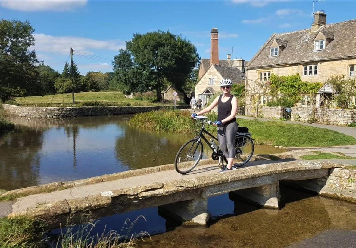 Rhona cycling in the Cotswolds