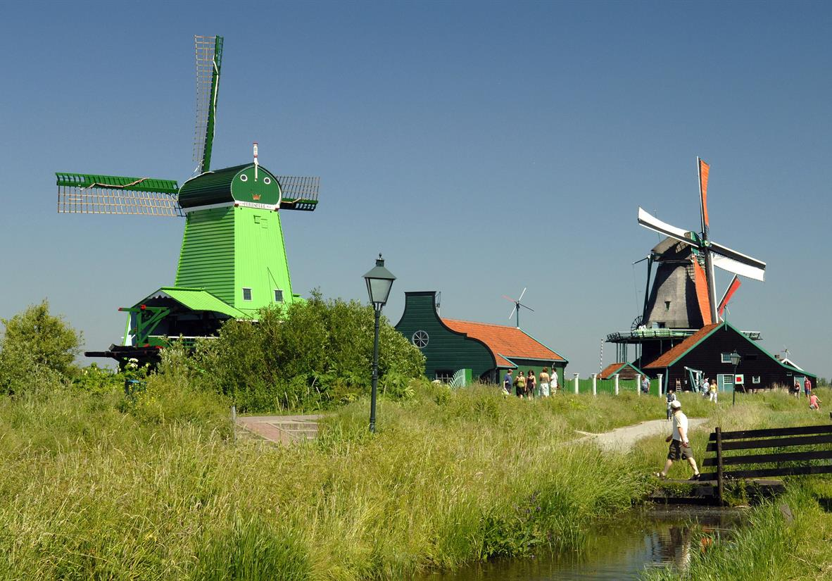 Dutch traditional windmills at Zaanse Schans