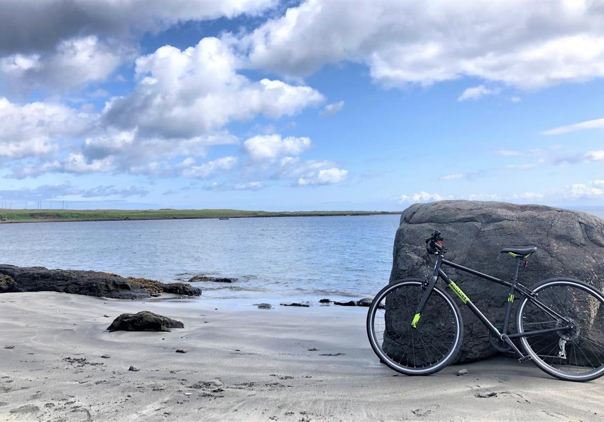 Grace's bike on the beach at Staffin