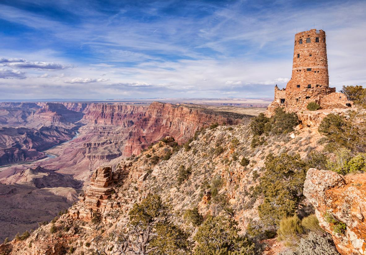 Desert View Watchtower above the Canyon
