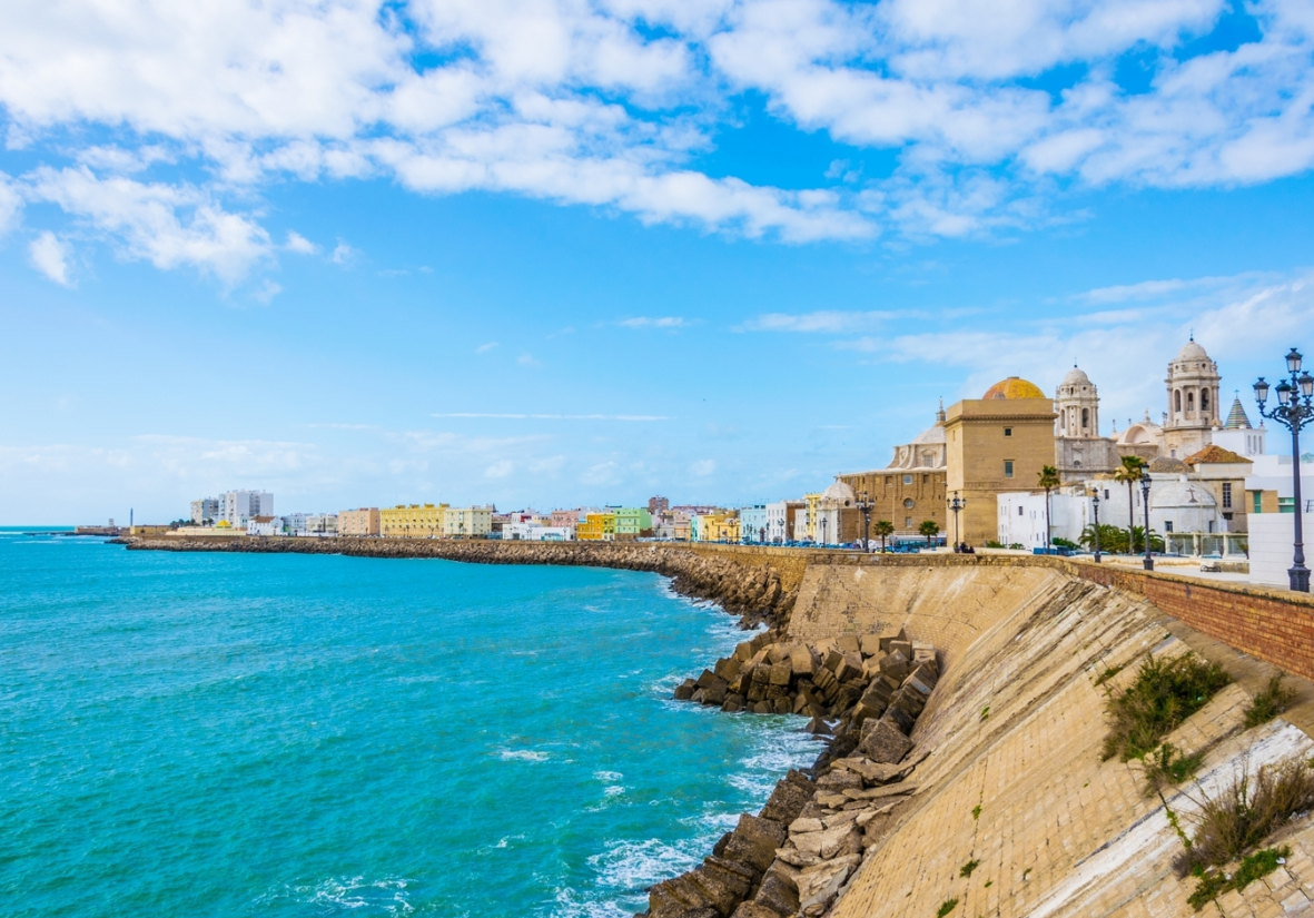 The colourful seafront of Cadiz