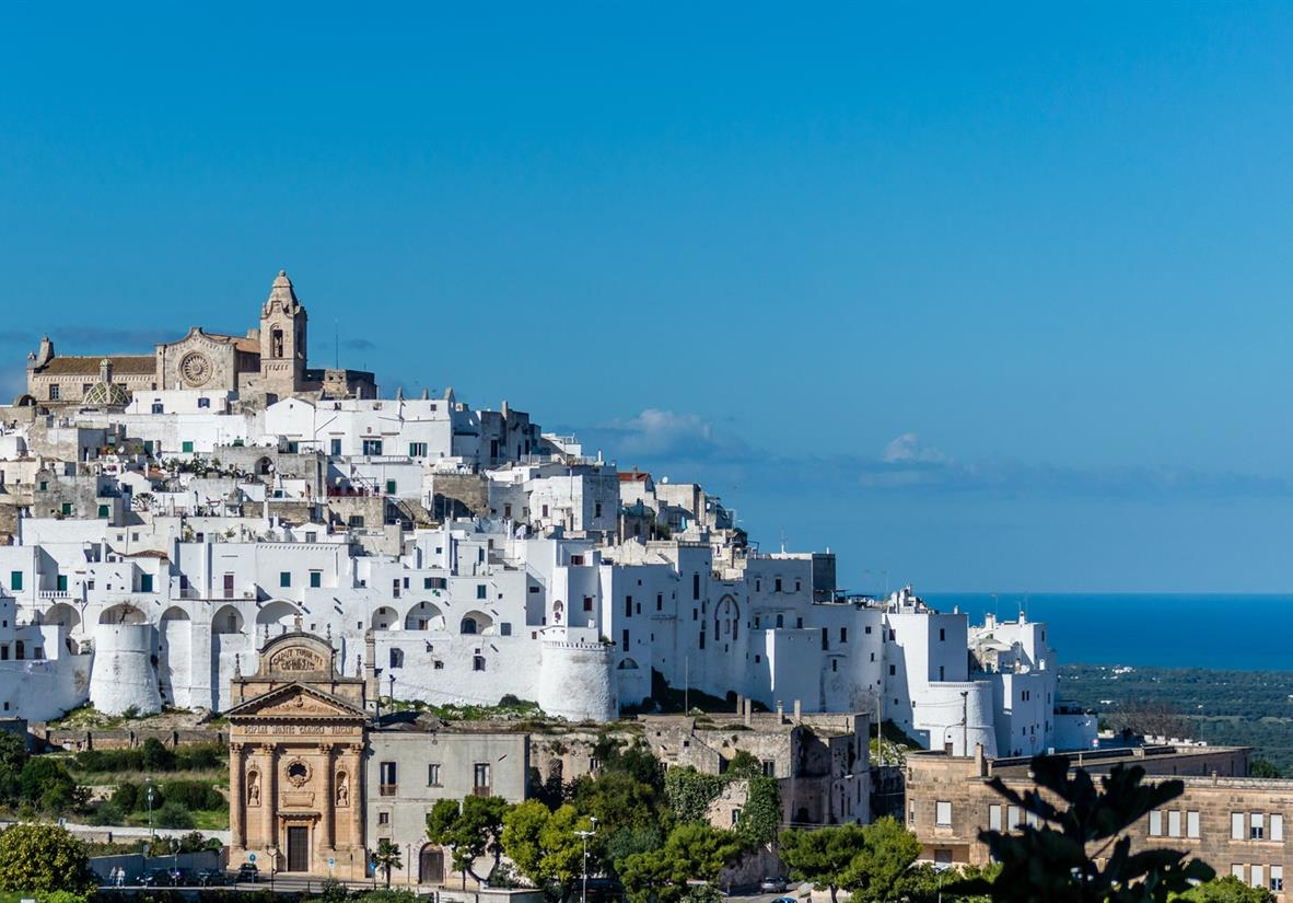 Ostuni's white-washed hilltop town in the sunshine