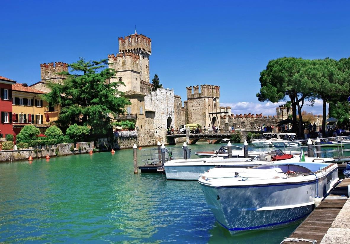 Rocca Scaligera Castle overlooking the lake