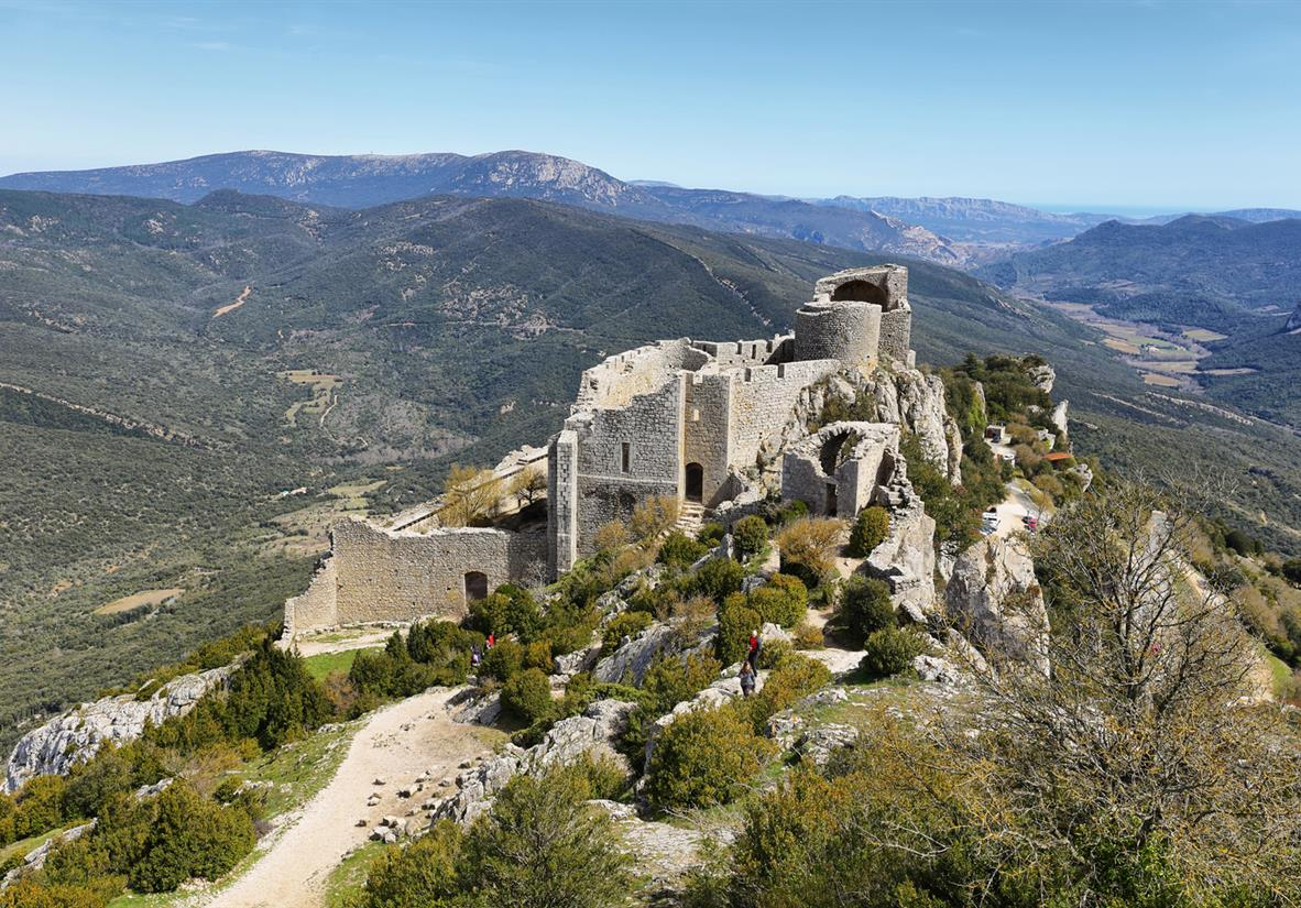 Pedal past the spectacular Peyrepertuse Castle