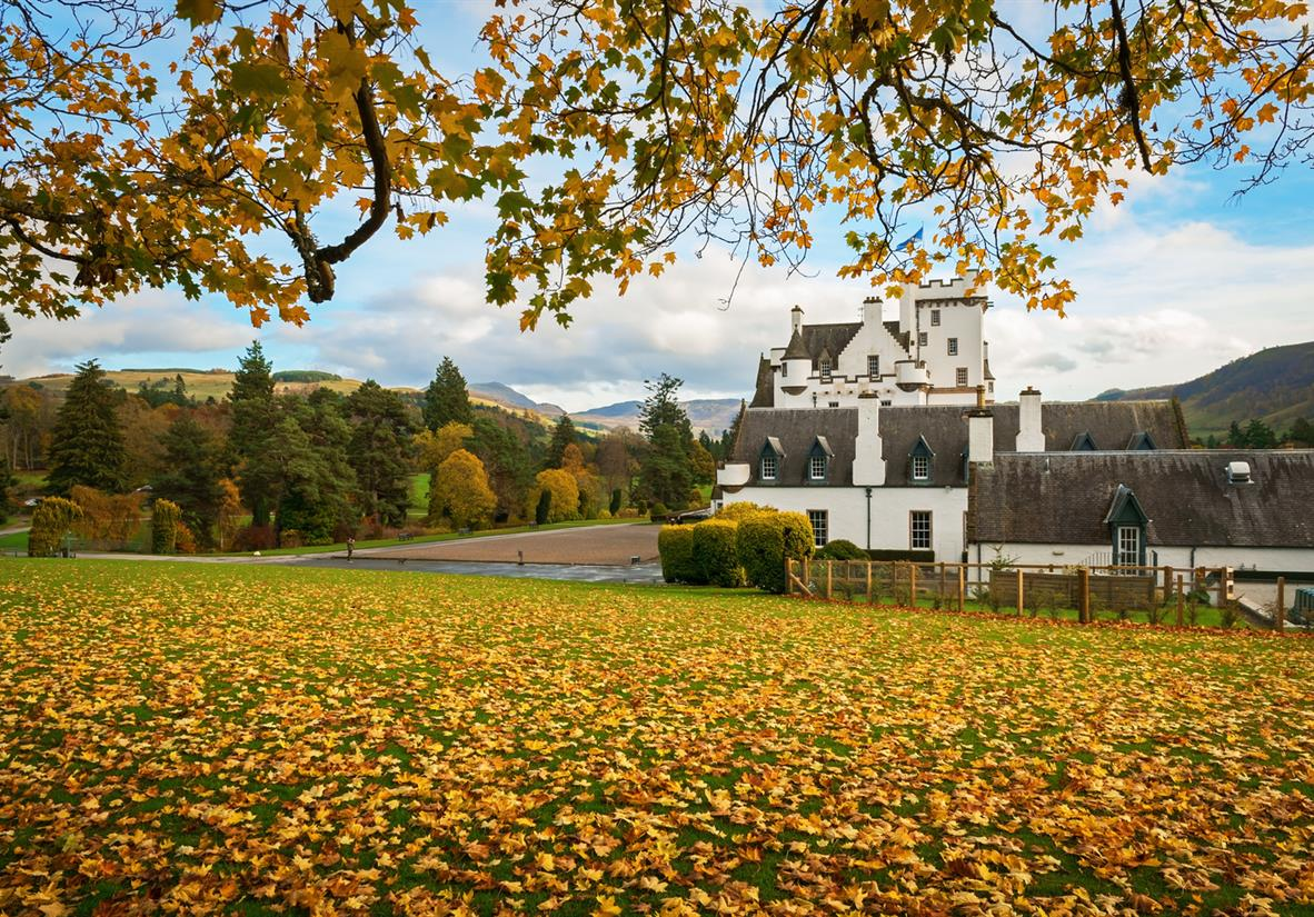 Blair Castle set among autumnal foliage