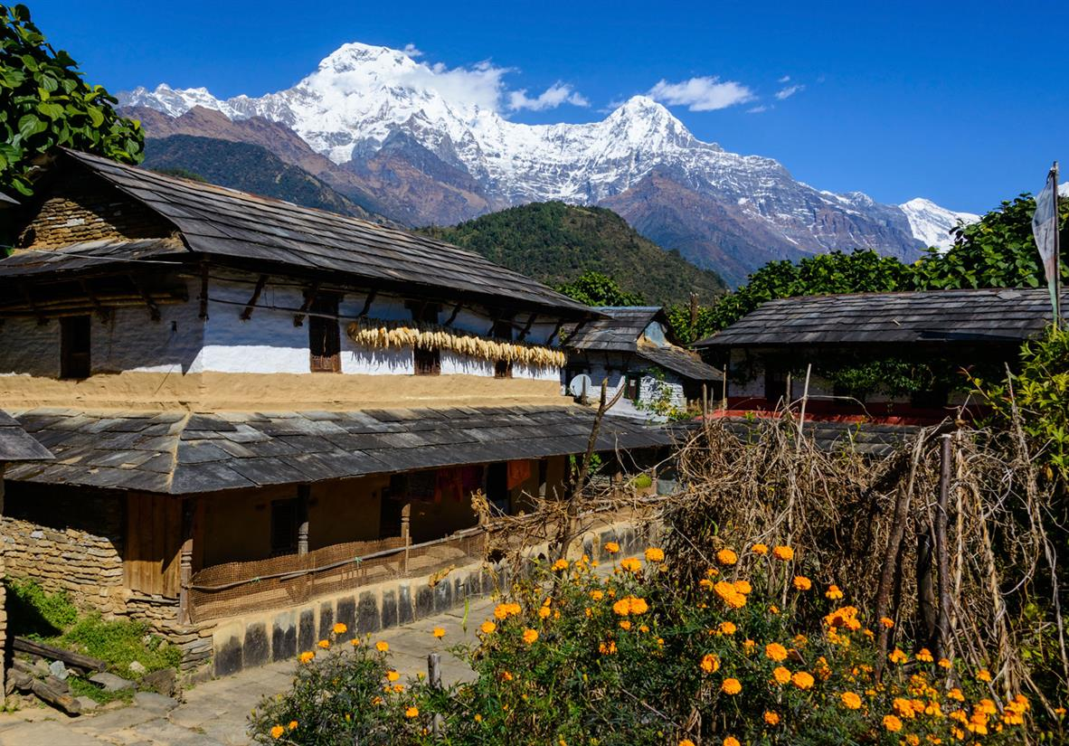 Trekking from village to village in the Annapurna