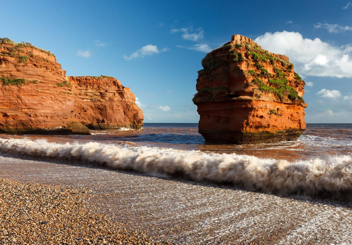 Ladram Bay with its red sandstone rock formations