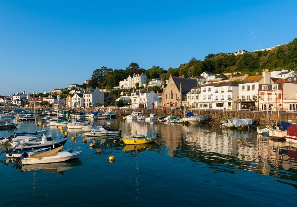 The colourful harbour of St Aubin