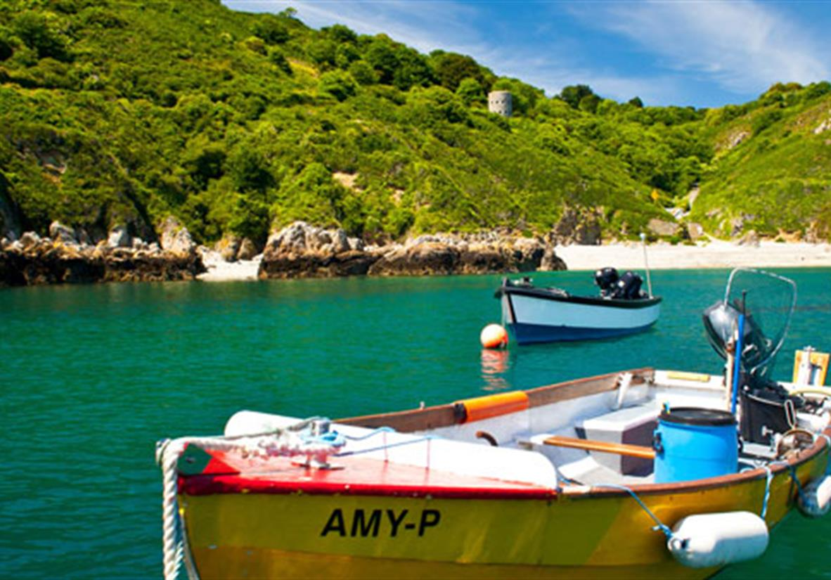 Boat moored in Saints Bay in Guernsey