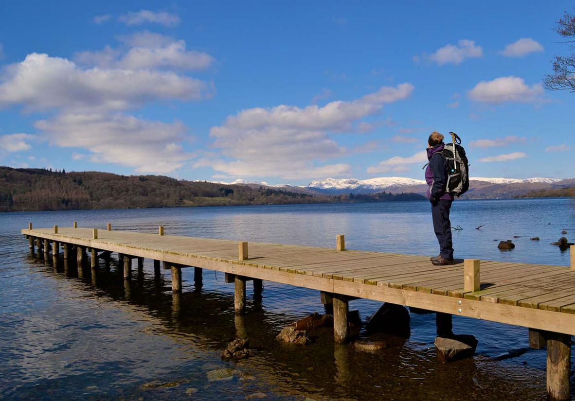 Standing on a pier near Bowness