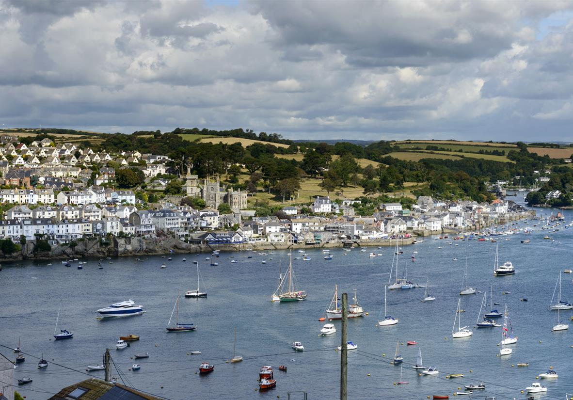 Views over the river estuary to the town of Fowey