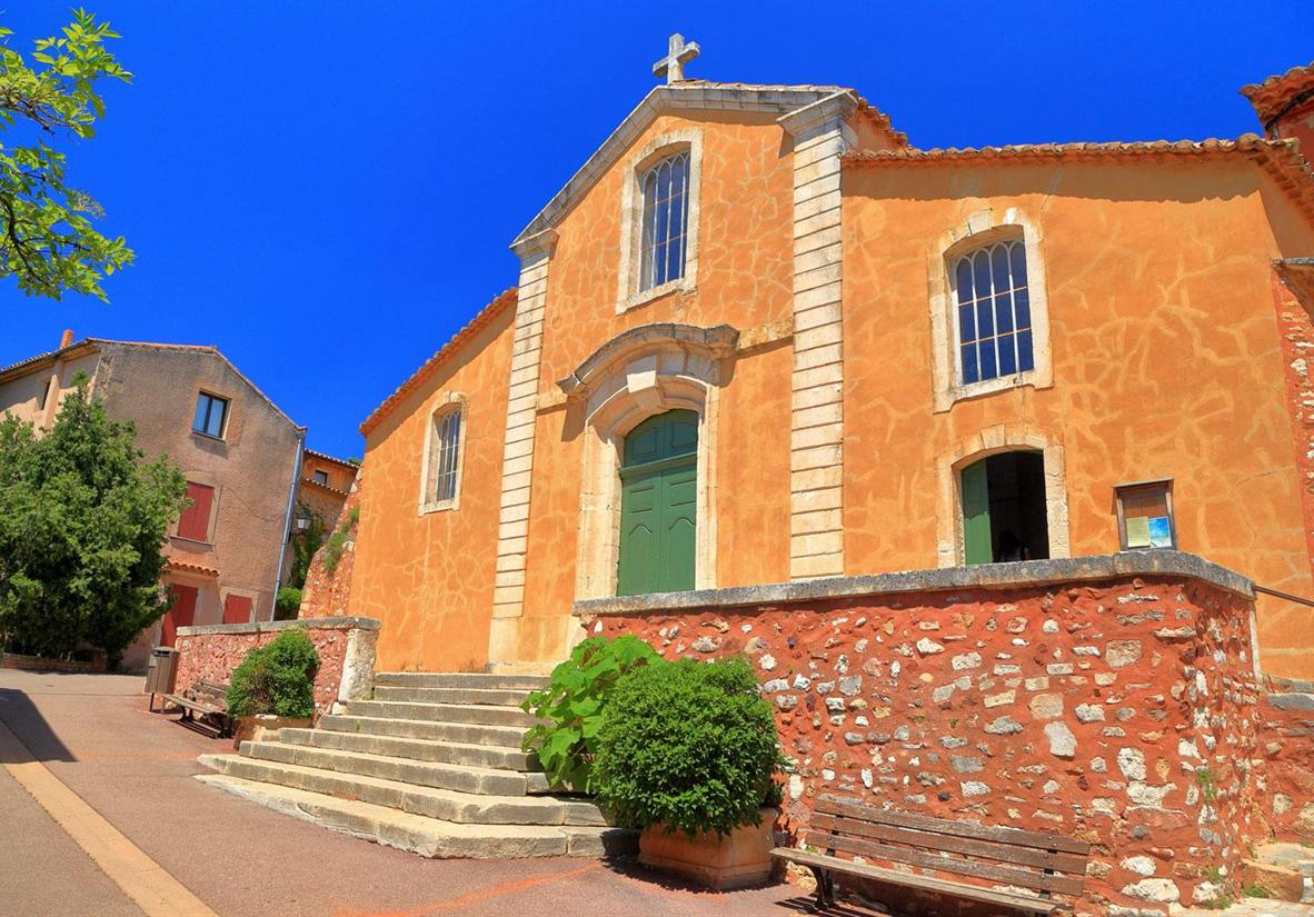 An ochre church in Roussillon