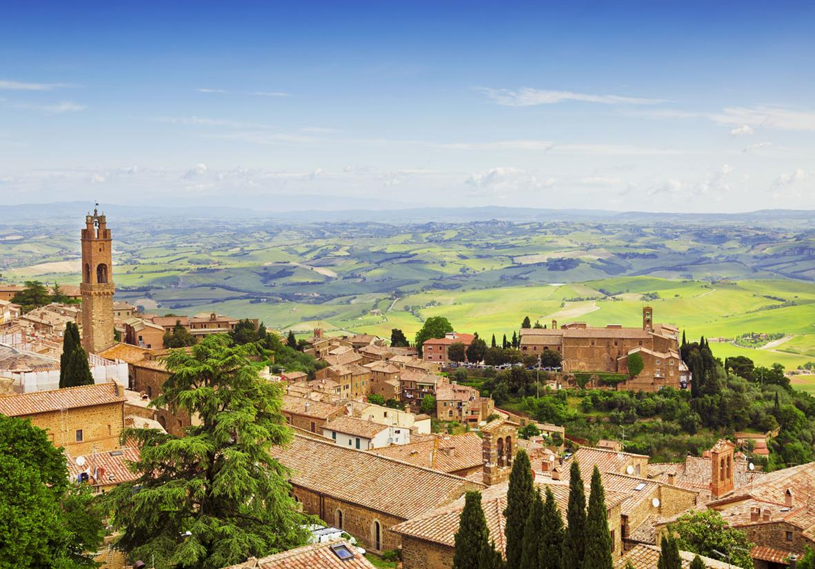 Views from hill-top Montepulciano in Tuscany