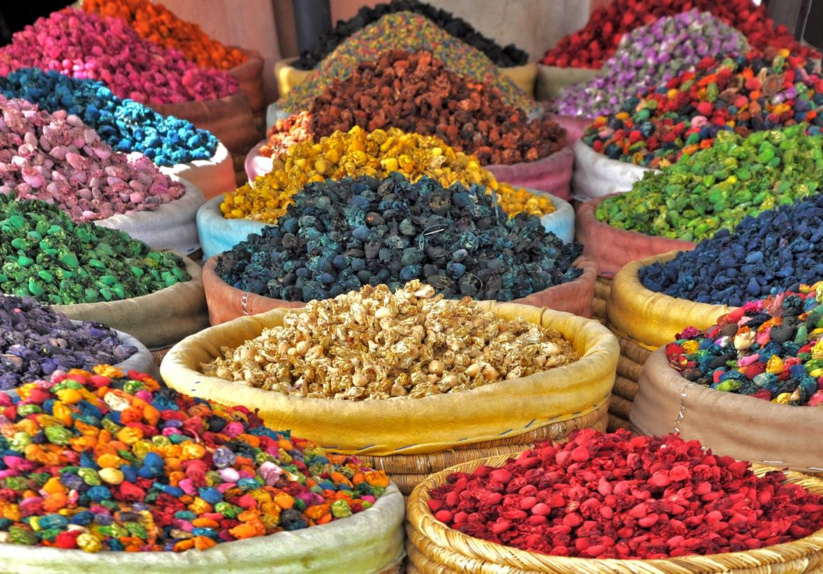 Colourful spices on sale in the souks