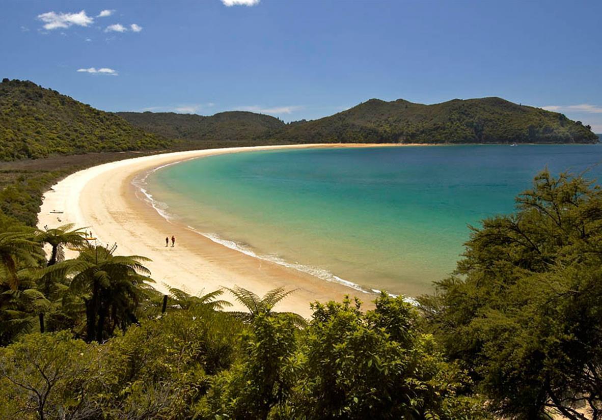 Sweeping and golden Onetahuti Beach