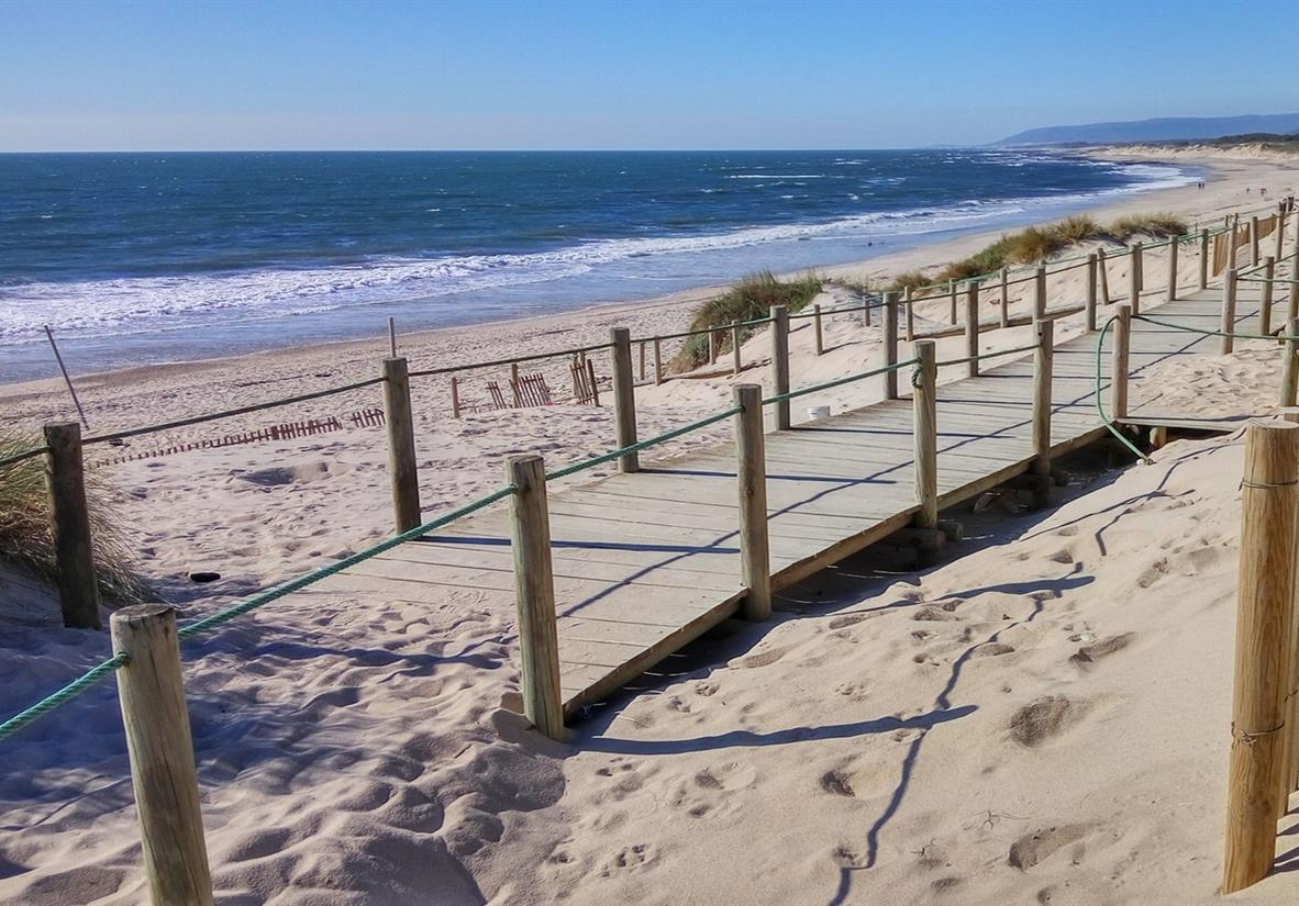 Handy boardwalks line parts of beach on the Camino