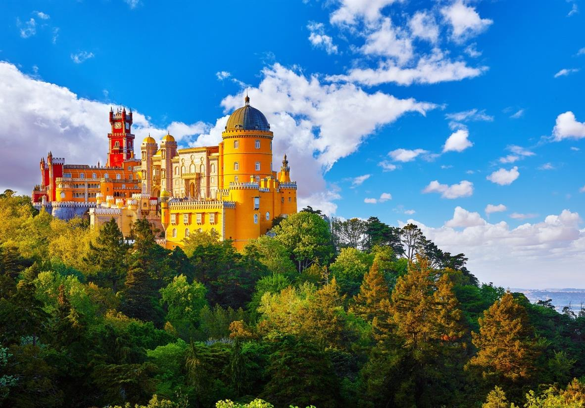 The colourful Pena Palace, high above Sintra