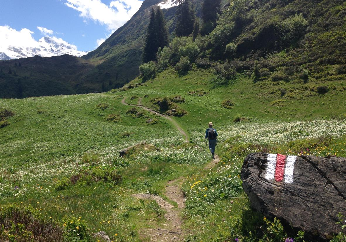 Walking on the trail above Murren