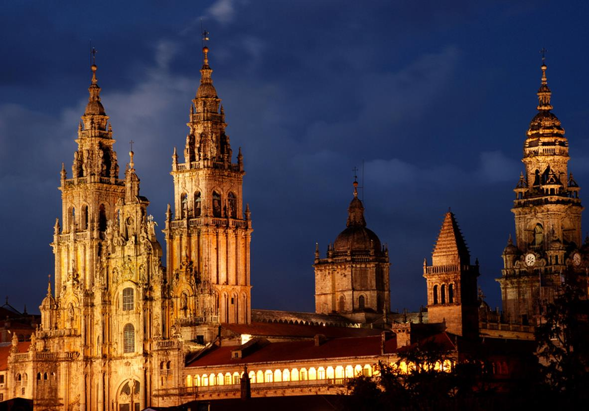 Die Kathedrale von Santiago bei Nacht