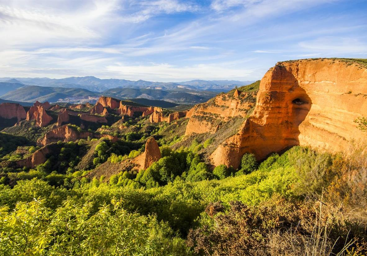 The striking red mountains of Las Médulas