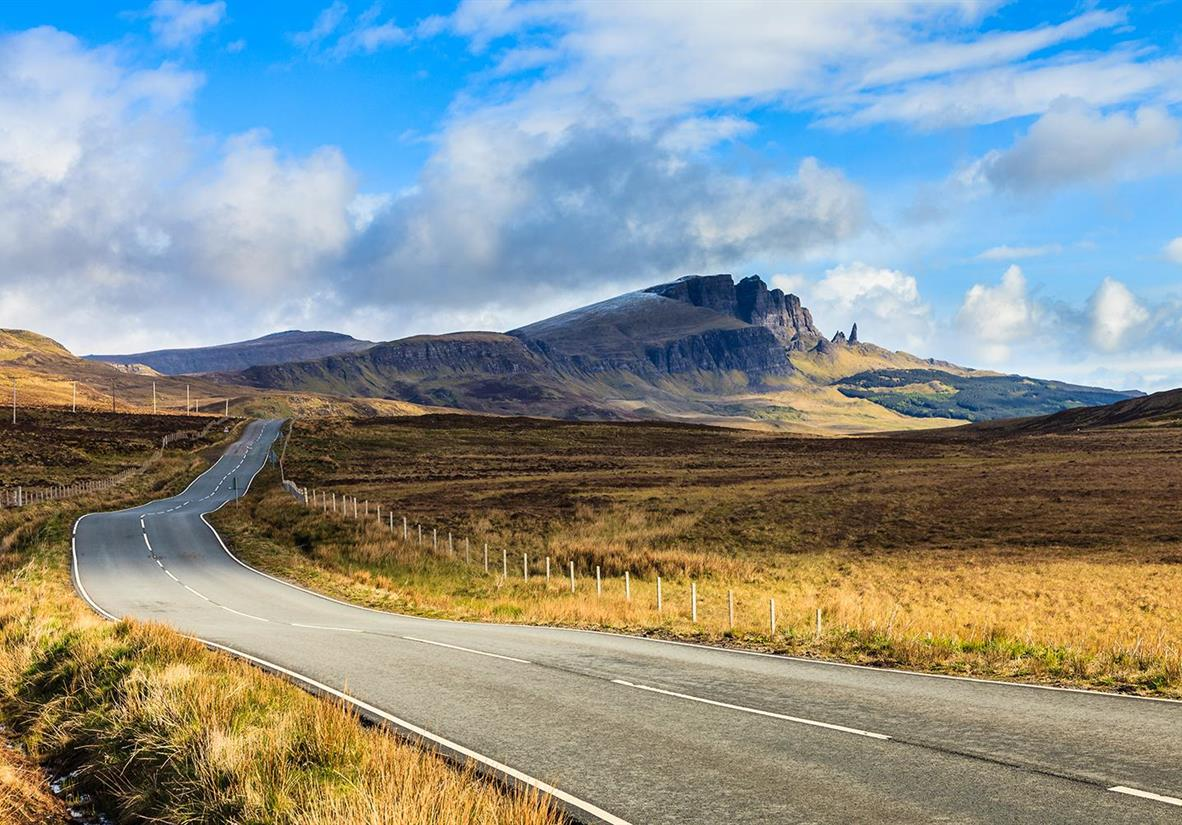 Driving towards the Storr rock formation on Skye