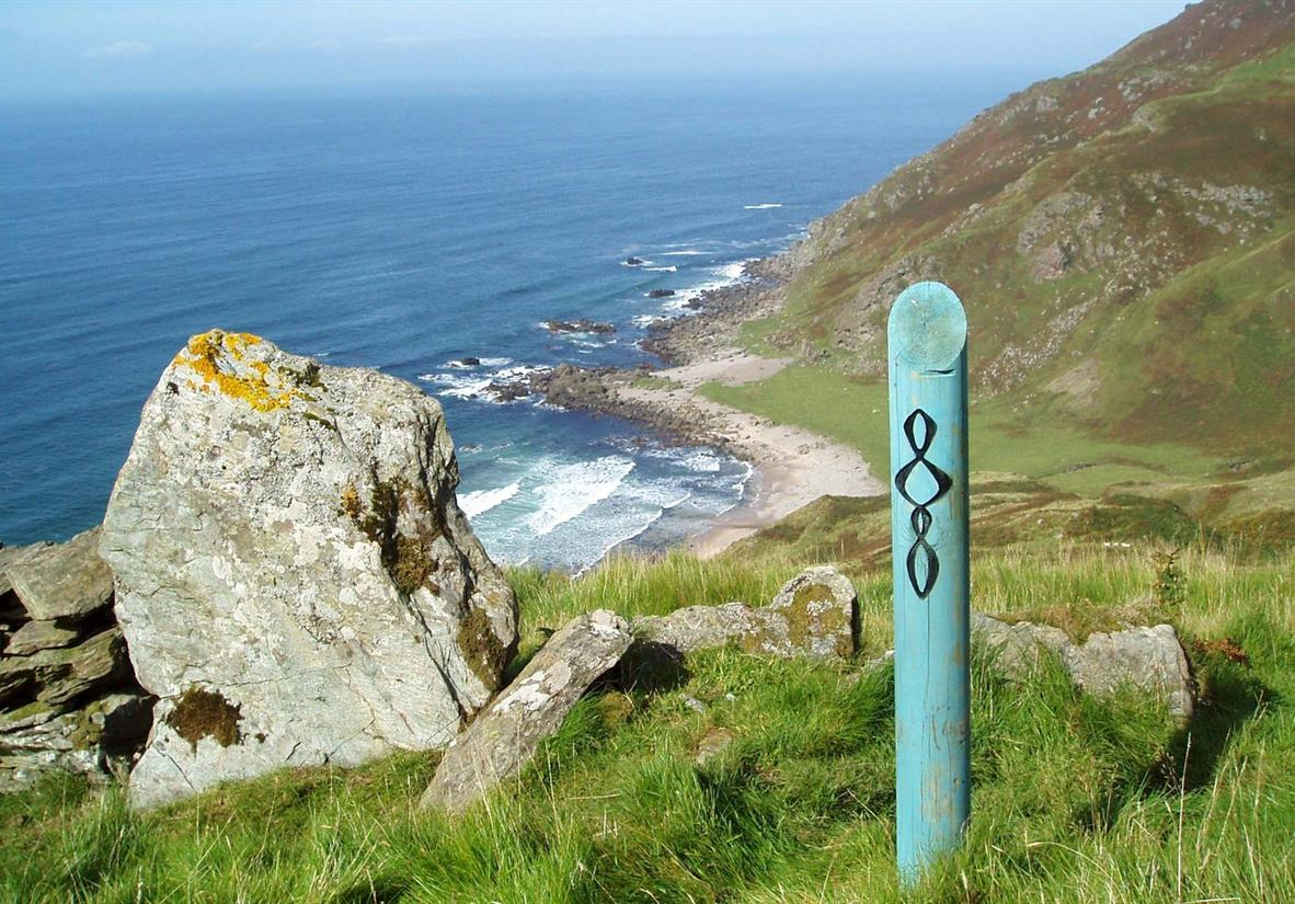 The trail is well way-marked (view of Inneans Bay)