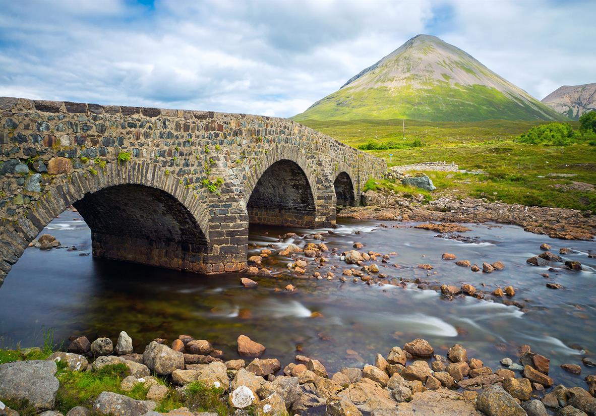 The iconic arched stone bridge at Sligachan