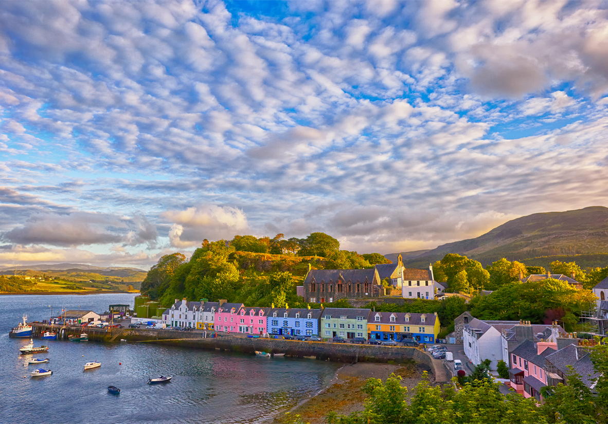 The colourful harbour town of Portree