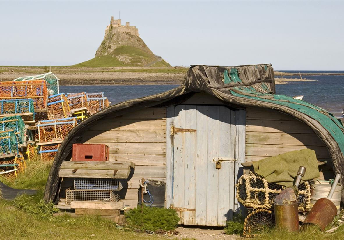 An innovative shed in front of Lindisfarne Castle