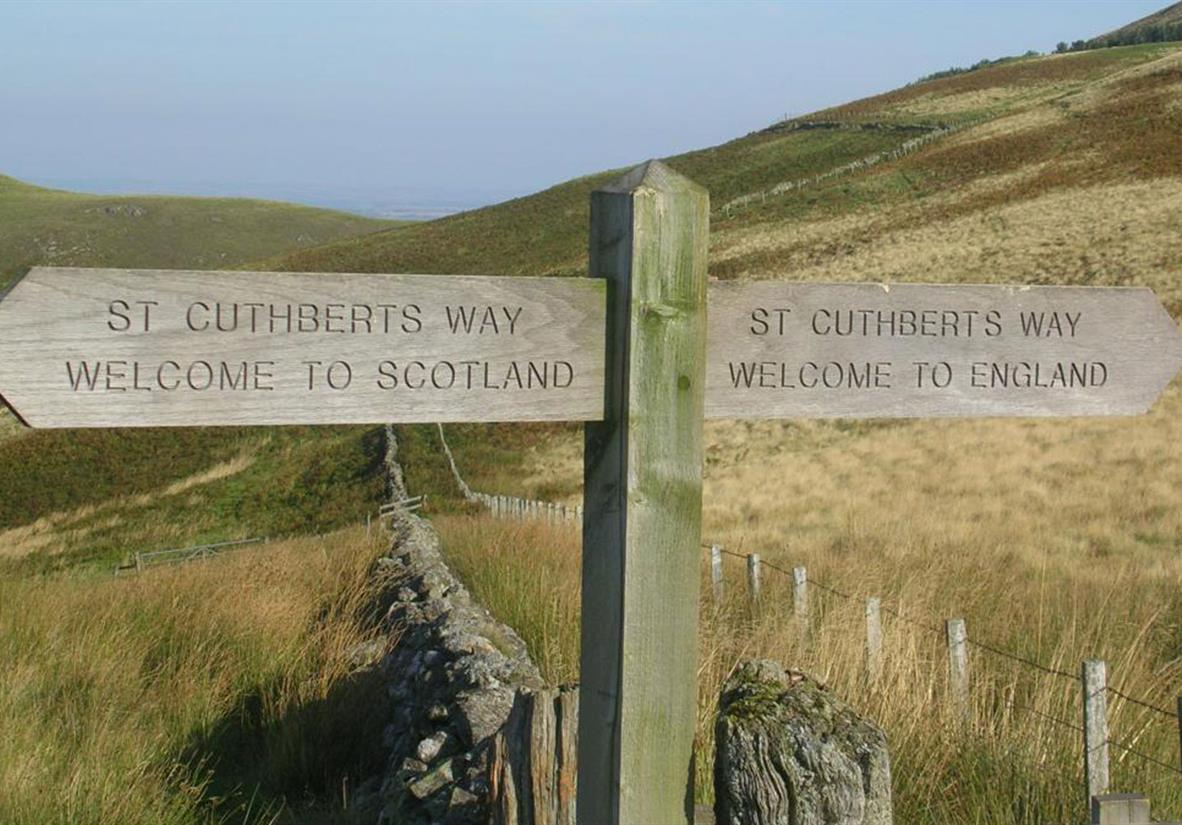 Crossing the border on St Cuthberts Way
