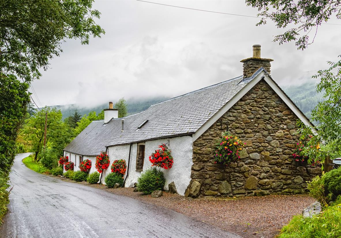 A charming white-washed cottage in the Trossachs