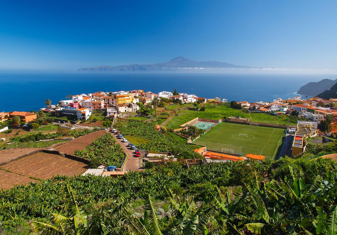 View of Agulo Town towards Tenerife and El Teide