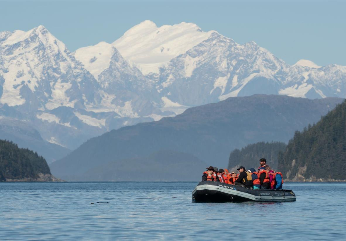 Skiff ride around George Island in Alaska