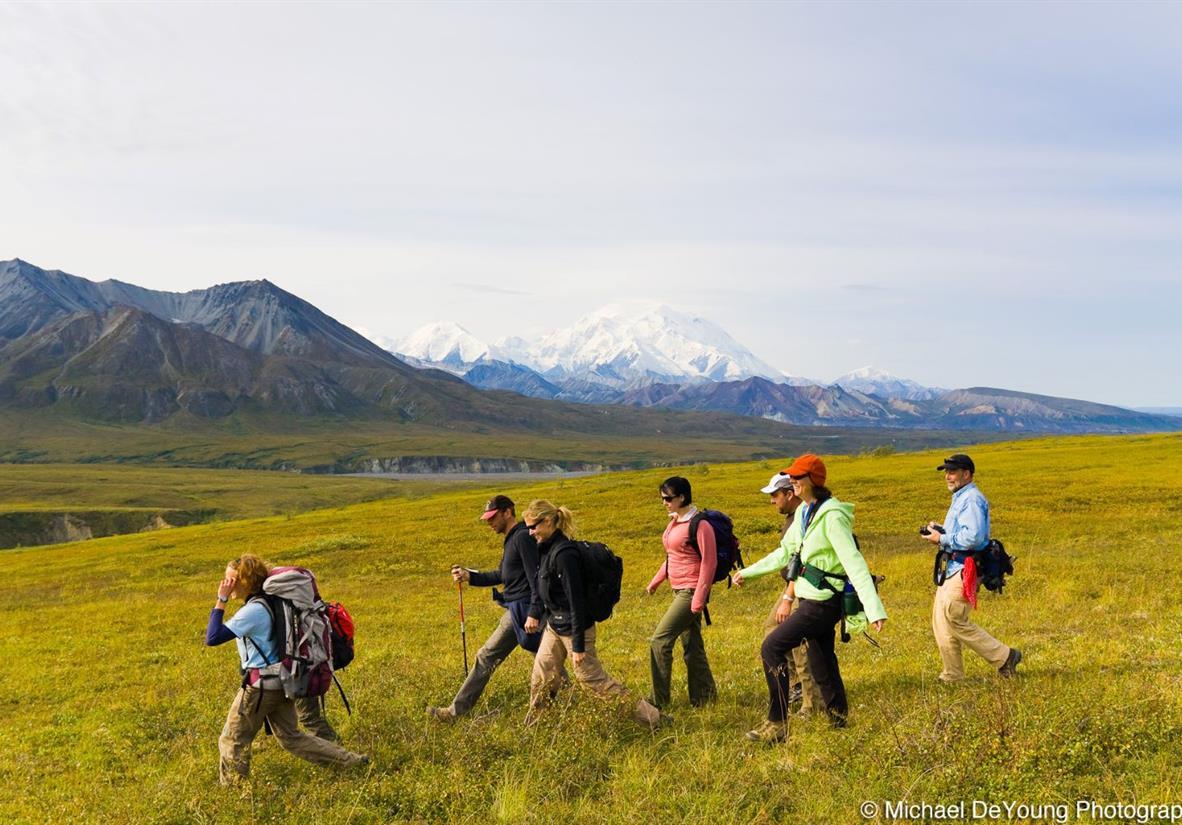 Hiking the tundra at Camp Denali