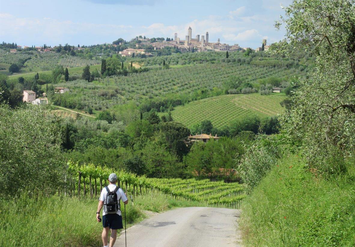Walking towards medieval hilltop towns