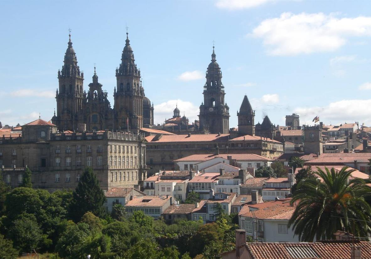 The spires of Santiago Cathedral