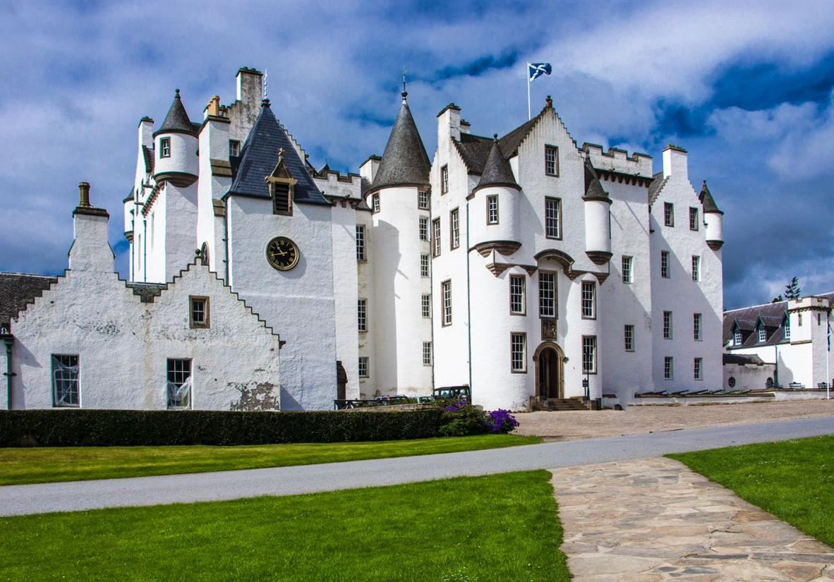 The imposing castle of Atholl Estate
