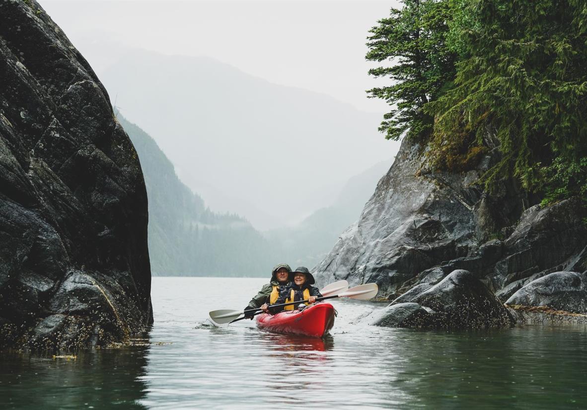 Sea kayaking during Alaska cruise