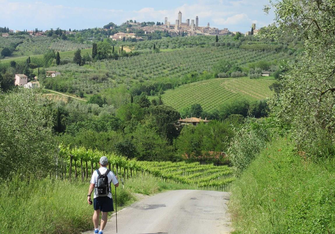 Wanderer in der Toskana
